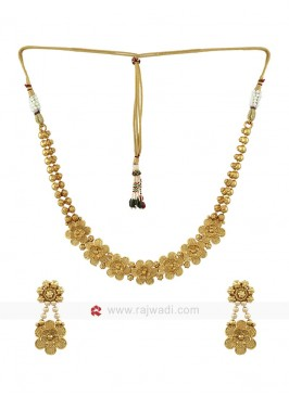 Golden Copper Floral Jewellery Set