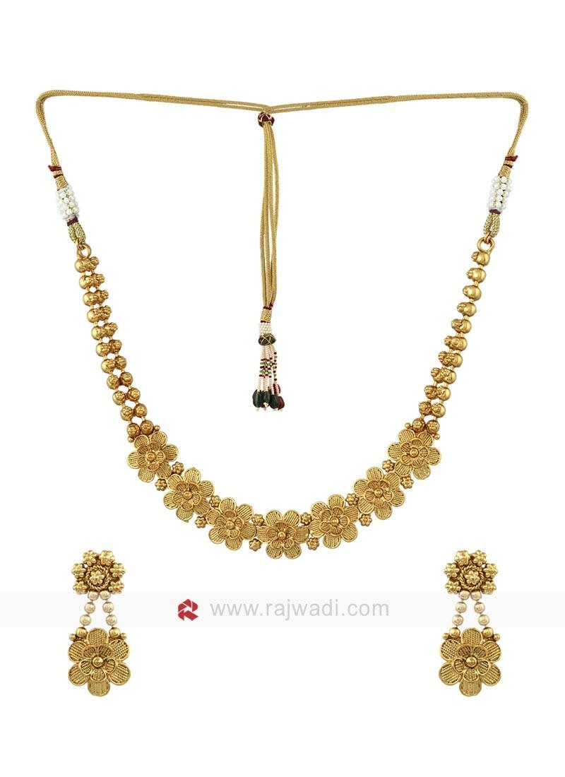 Golden Copper Floral Jewellery Set