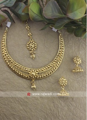 Golden Copper Necklace Set with Earrings