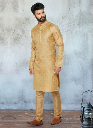 Golden Cotton Silk Kurta Pajama