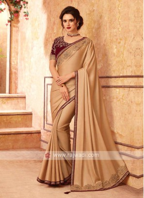 Golden Cream And Maroon Saree