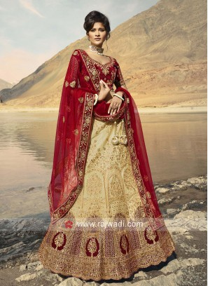 Golden Cream And Red Bridal Lehenga Choli