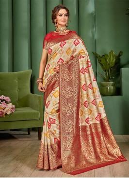 Golden Cream And Red Color Banarasi Silk Saree