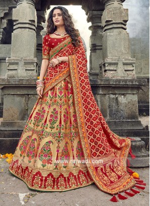 Golden cream and red lehenga choli
