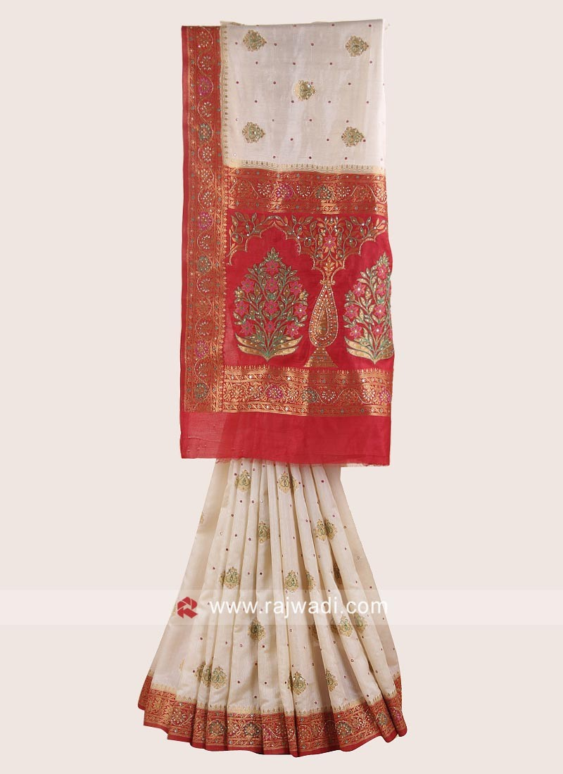 Golden Cream and Red Wedding Saree