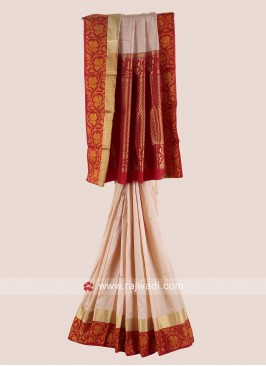 Golden Cream and Red Woven Saree