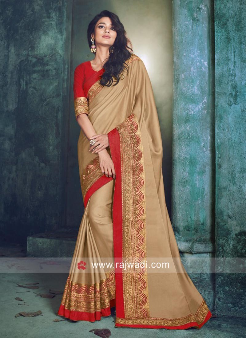 Golden Cream Art Silk Saree