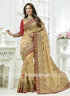 Golden Cream Art Silk Wedding Saree