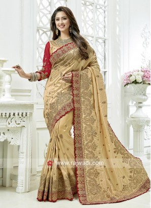 Golden Cream Art Silk Wedding Saree