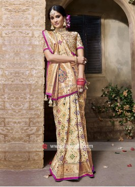 Golden Cream Banarasi Silk Saree