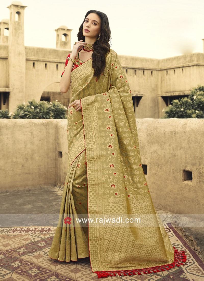 Golden Cream Banarasi Silk Saree