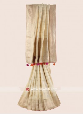Golden Cream Banarasi Silk Woven Saree