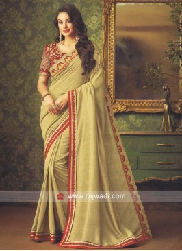 Golden Cream Border Work Saree