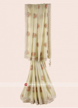 Golden Cream Chiffon Silk Saree