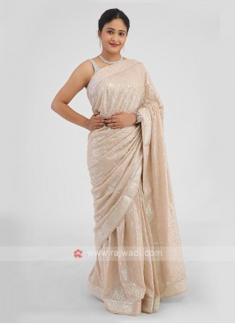 Golden Cream Chiffon Silk Saree