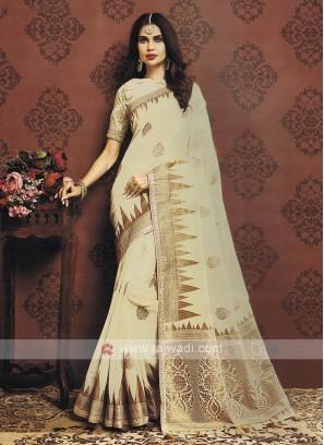 Golden Cream Color Cotton Silk Saree