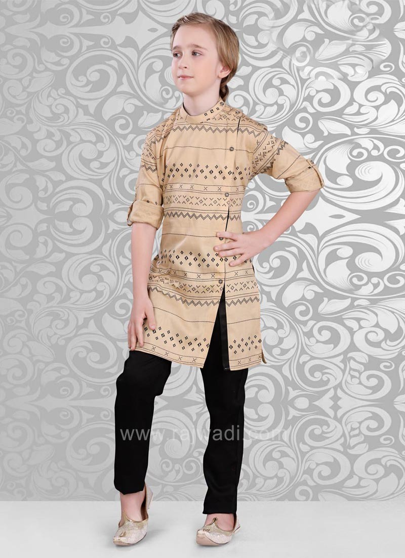 Golden Cream Color Kurta and Black Color Bottom