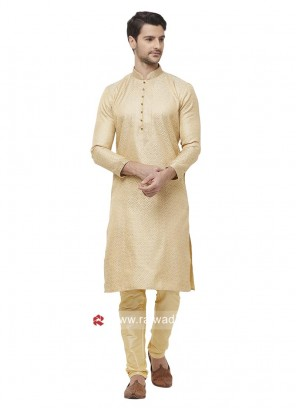 Golden Cream Color Kurta Pajama