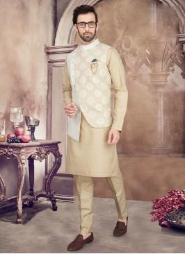 Golden Cream Color Nehru Jacket Set