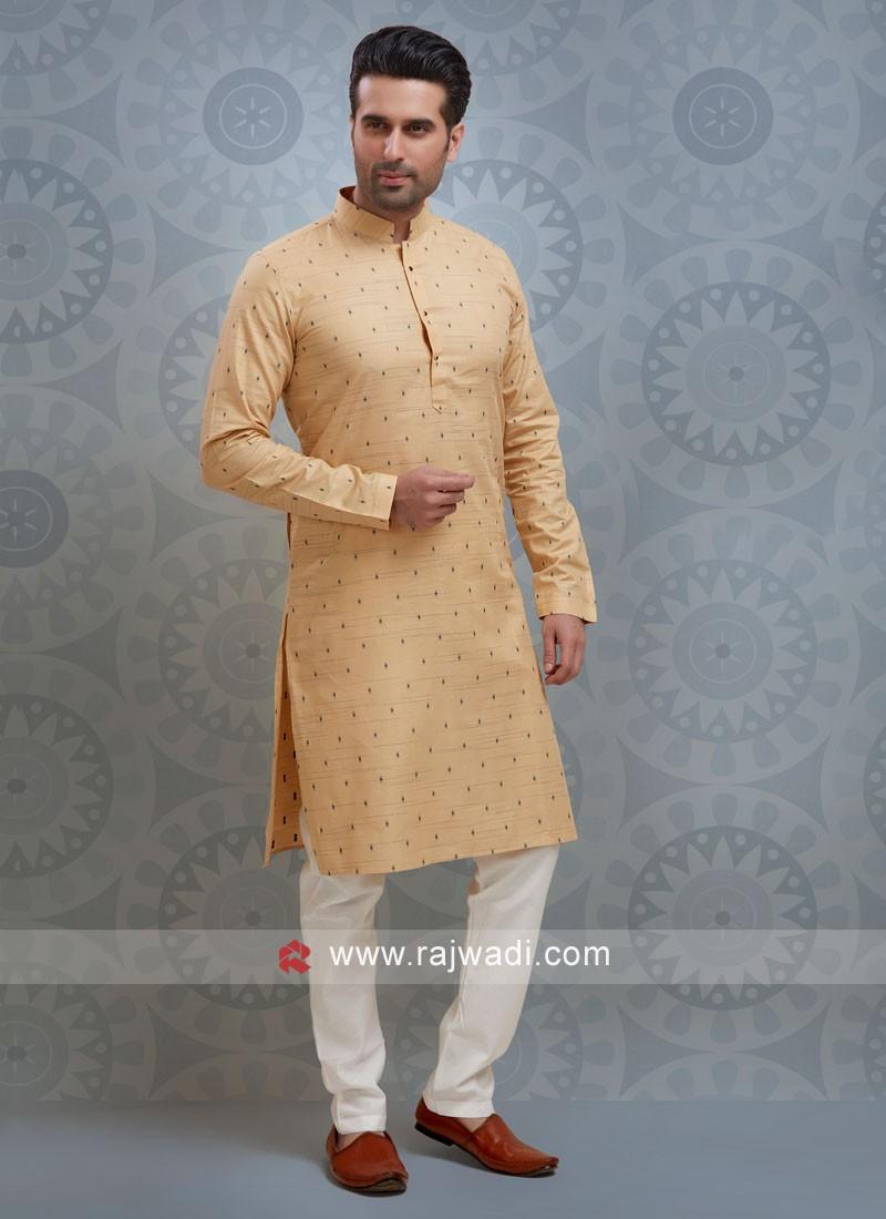Golden Cream Color Printed Kurta Pajama