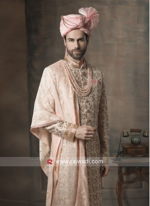Golden Cream Color Sherwani with Stylish Dupatta