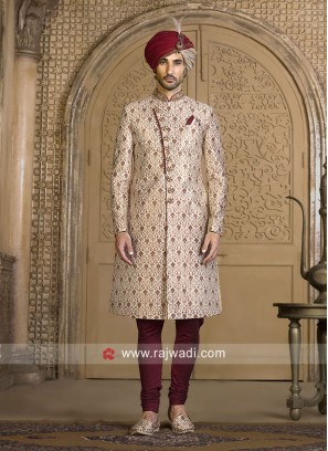 Golden Cream Color Sherwani For Wedding