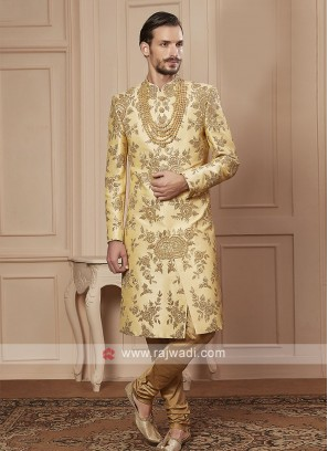golden cream color zari work sherwani