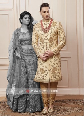 golden cream colour sherwani