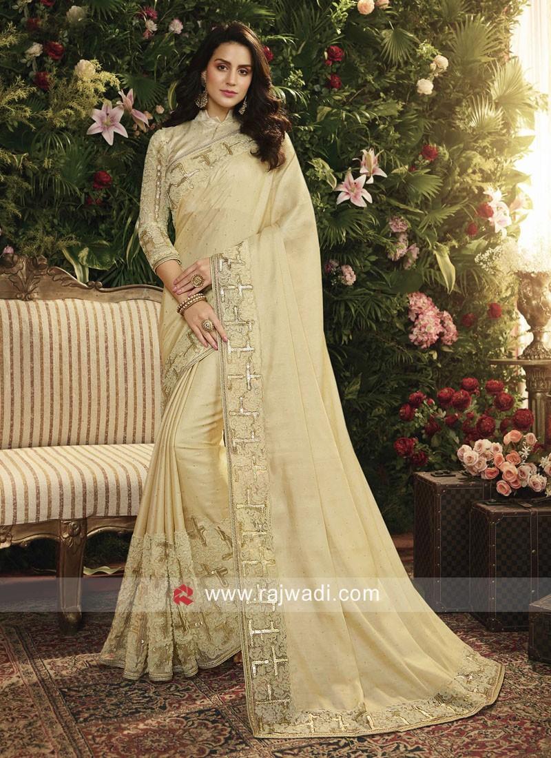 Golden Cream Designer Saree