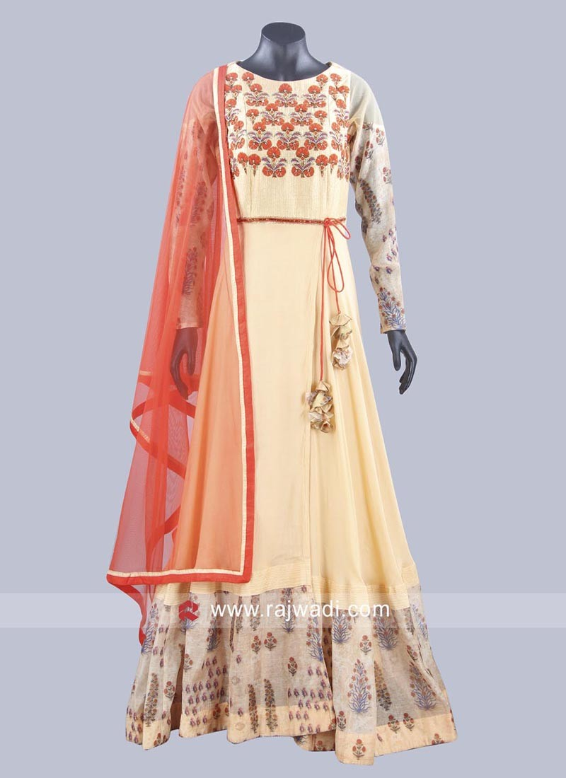 Golden Cream Double Layered Anarkali Suit