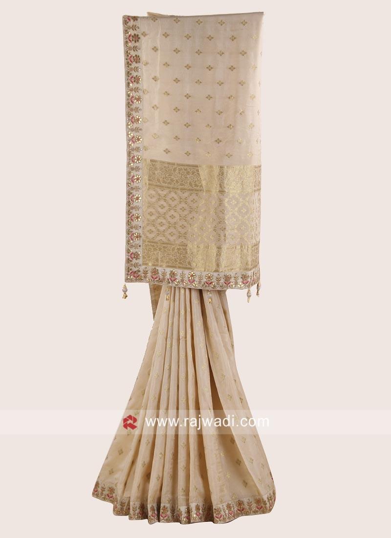 Golden Cream Embroidered Saree