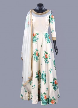 Golden Cream Flower Print Cold Shoulder Anarkali Dress