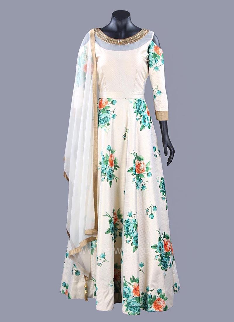 Golden Cream Flower Print Cold Shoulder Anarkali Dress