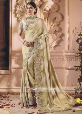 Golden Cream Flower Work Saree