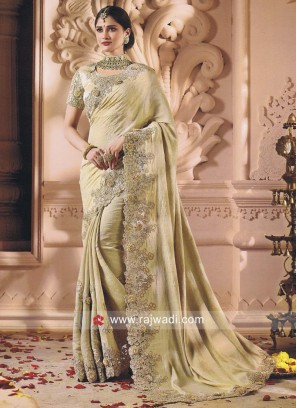 Golden Cream Flower Work Saree