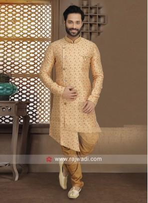 Golden Cream Indo Western For Wedding