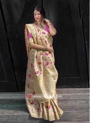 Golden Cream Kanjeevaram Silk Saree