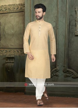 Golden Cream Kurta Pajama For Eid