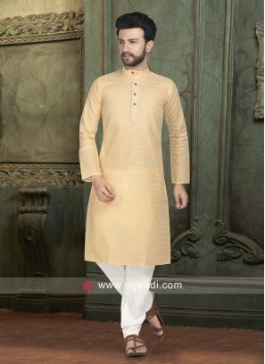 Golden Cream Kurta Pajama For Eid