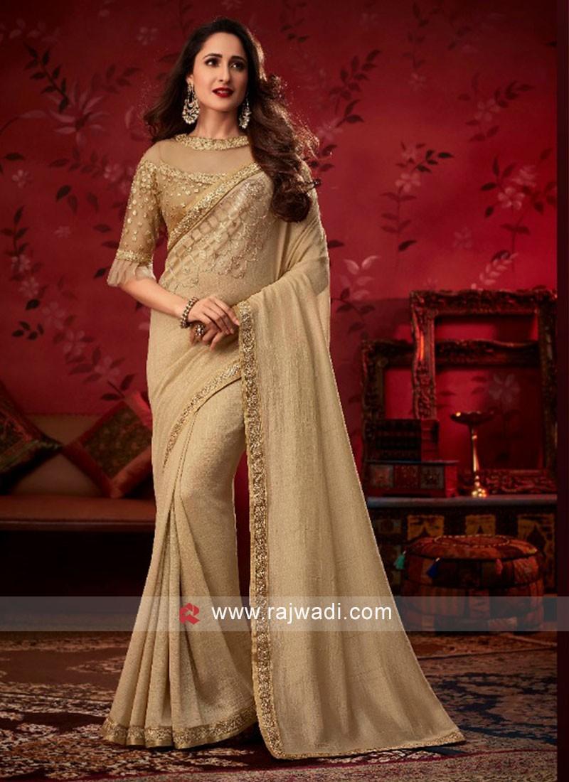 Golden Cream Lace Work Saree with Designer Blouse