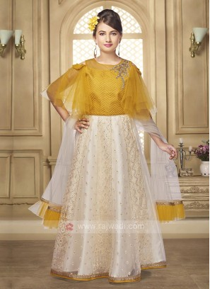 golden cream color lehenga choli