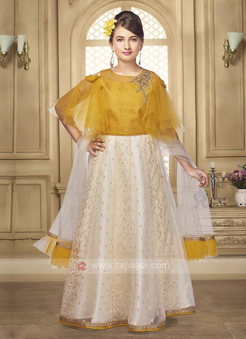 golden cream color lehenga choli