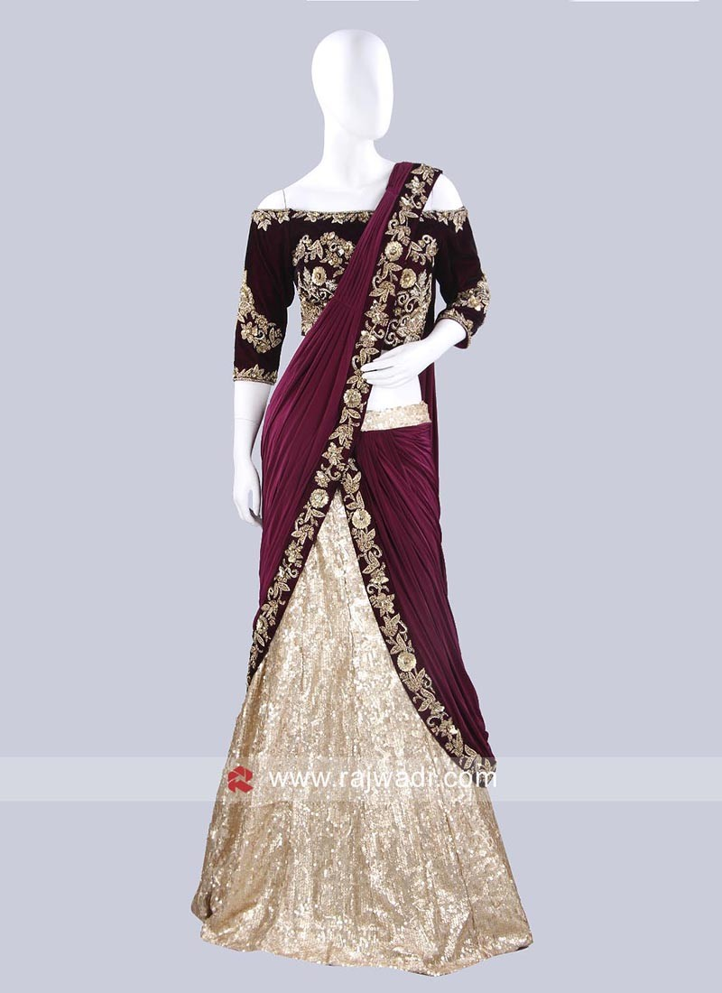 Golden Cream Lehenga Saree