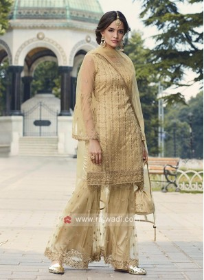 Golden Cream Net Gharara Suits