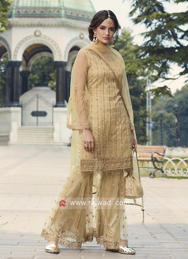 Golden Cream Net Gharara Suits
