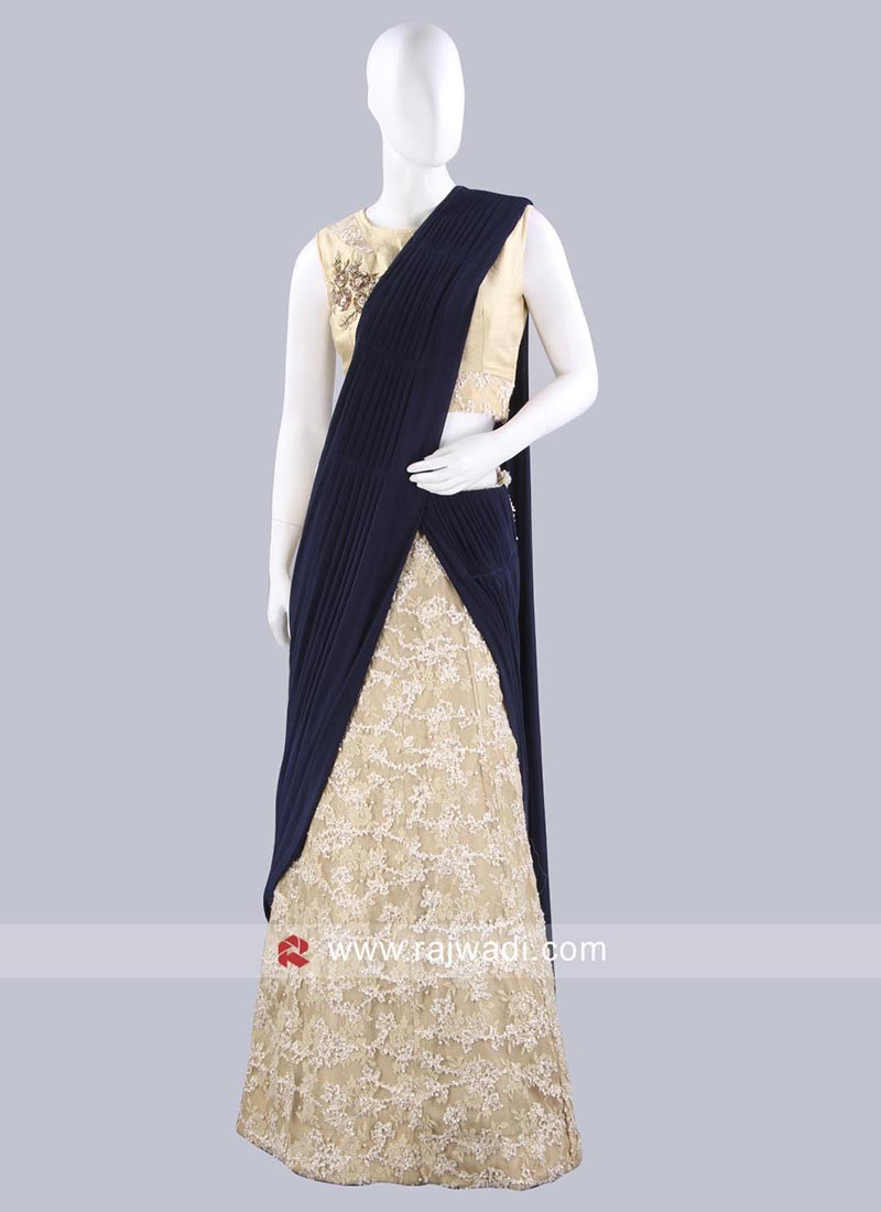 Golden Cream Net Lehenga Saree