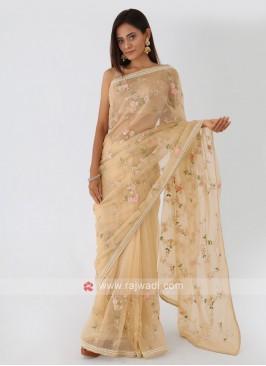 Golden Cream Net Saree