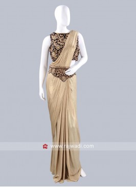 Golden Cream Pre Stitched Saree with Waist Belt