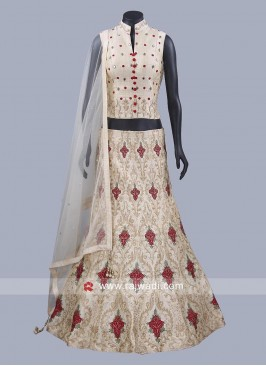 Golden Cream Raw Silk Lehenga