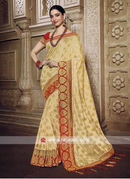 Golden cream saree with blouse